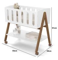 Mini berço Liv  - Branco Eco Wood-medidas
